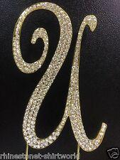 "GOLD Plated Rhinestone  Monogram Letter ""U""  Wedding Cake Topper  5"" inch high"