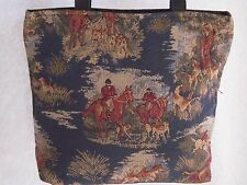 Artisan Treasures Handcrafted Equestrian Fox Hunt Navy Tote Purse NEW