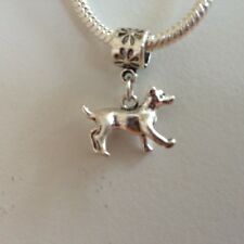 DOG Sterling Silver Plated Dangling Charm Bead For European Charm Bracelets