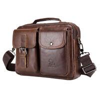 Vintage Leather Shoulder Messenger Bag for Men Travel Business Crossbody Handbag