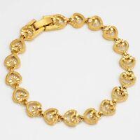 """Women's Heart Bracelet Lovely Jewelry 18K Yellow Gold Filled Chain 7.7"""" Link"""