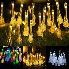 30 LED Raindrop Teardrop Solar Powered String Fairy Lights Outdoor Garden Party