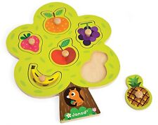 Janod arbre fruitier Puzzle en Bois Peg jouet activité Entièrement neuf dans sa boîte