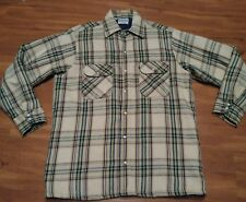 Five Brother Men's Heavy Flannel Plaid Pearl Snap Long Sleeve Rancher Shirt m