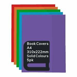 Pack of 5 OSMER A4 Solid Colours PVC Book Covers / Jacket - 310 x 222mm BCA419