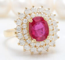 3.89 Carat Natural Red Ruby and Diamonds in 14K Solid Yellow Gold Women Ring