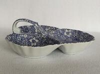 """Antique Reflections J Godinger & Co Condiment Dish 3 Section Handle 10"""" Blue"""
