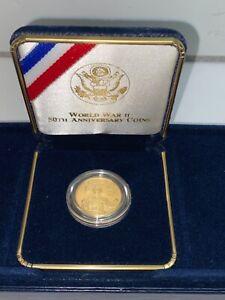 WORLD WAR II 50TH ANNIVERSARY COMMEMORATIVE PROOF $5 GOLD COIN 1991/1995
