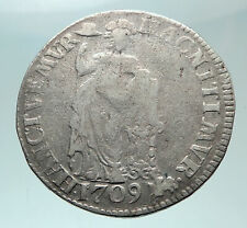 1709 Netherlands Dutch Republic Genuine OLD Antique Silver 1 Gulden Coin i82420