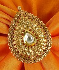 734 Indian Ethnic Traditional 18k Gold Tone Adjustable Ring Bollywood Jewellery