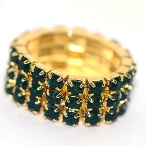 Full Crystal Green Womens Fashion Party Ring Adjustable Size Rings Gold Plated