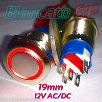 PULSANTE MONOSTABILE 19mm SPDT LED ROSSO 12V DC AC IP67 DEVIATORE antivandalo 5A