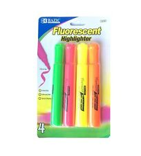 BAZIC FLUORESCENT HIGHLIGHTER CHISEL TIP ODORLESS QUICK DRY 4 MIX COLOR NEW