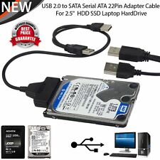"USB 2.0 to SATA Serial ATA 22P Cable Adapter For 2.5"" HDD SSD Laptop Hard Drive"
