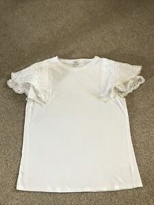 Ladies River Island Size 10 White Frill Pearl Trimmed Sleeve Top T-shirt