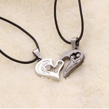 Cute 1 Pair Couple Necklace  I Love You Heart Titanium Steel Lover's Gift Jewery