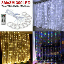 300LED/10ft Curtain Fairy Hanging String Lights Wedding Bedroom Home Decor USA