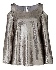 Capsule Silver Sequin Cold Shoulder Top Size UK 18 LF083 FF 13