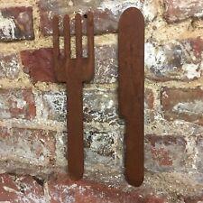 Rusty couteau et fourchette SIGNE rustique Shop Home Bar Pub Cafe Restaurant Cui...