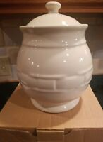 Longaberger Woven Traditions Ivory Medium Canister Brand New in box! See picture