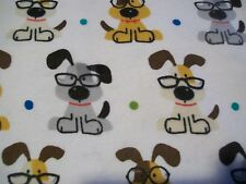 Smart Pups Snuggle Cotton Flannel Fabric BTY Puppy Dogs on White