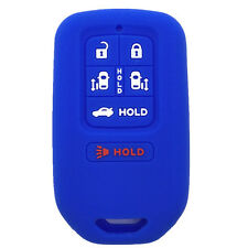 Blue Silicone Key Jacket Key Fob Case Cover 6 Buttons fit for Honda Odyssey