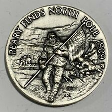 Longines-Wittnauer Peary Finds North Pole 1909 Sterling 1 oz Round