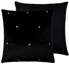 """DIAMOND DIAMANTE THICK SOFT QUILTED VELVET BLACK CUSHION COVER 18"""""""