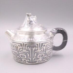 999 Fine Silver Art Full Handmade in Block Teapot Healthy Ancient Animal Pattern