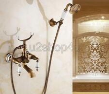 Antique Brass Wall Mount Clawfoot Bath Tub Faucet Tap w/ Handheld Shower Utf308