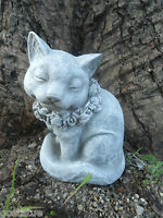 "Latex cat w flowers mold plaster concrete cement mould 7""H"