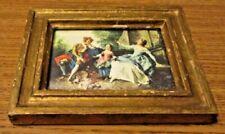Italian Florentine Vintage Gold Gilt Picture Rectangle Victorian Scene Lady Gent