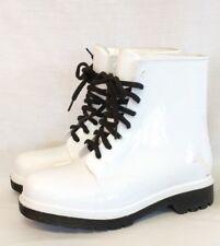 Cape Robin White Lace Up Rain Boots Rain Shoes Black Sole Size 6 Stormtrooper