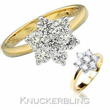 18 Carat Cluster Yellow Gold Round Fine Diamond Rings