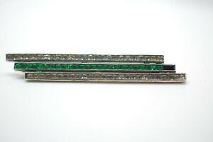 Antique Art Deco Sterling Silver Green & Clear Paste Brooch maker mark WM ? WN ?