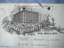 JAMES CORISTINE & CO, MONTREAL, Canada FURS 1913 Beautiful Vintage Letter Head