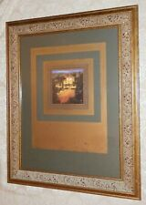 Tuscan Print Large 20 x 26 Gold WOOD Picture FRAME Green Mat