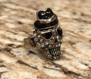 R213 BETSEY JOHNSON Exquisite Sailor Skull w/ MJ Hat Ring US