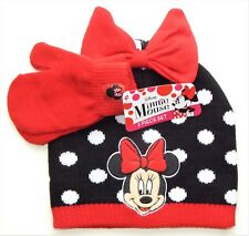 MINNIE MOUSE DISNEY Knit Polka Dot Winter Beanie Hat & Mitten Set w/ Red Bow $20