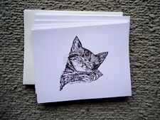 Sleeping Kitten 18 Blank Notecards with Linen Style Envelopes New