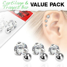 3 Pc Clear Round CZ Ear Cartilage Daith Tragus Helix Earrings Barbell Studs