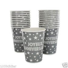 10 Gobelets Joyeux Anniversaire Jetables GRIS 270 ml Décoration de table Fête
