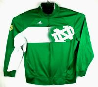 university of notre dame adidas climawarm mens large zip warmup jacket green
