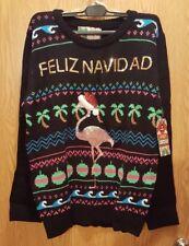 "Ugly Christmas Sweater Pink Flamingo ""FELIZ NAVIDAD"" Holidays Size Small NEW"