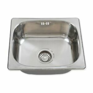 Small Stainless Steel Kitchen Sink 420x360mm Single 1 Bowl + Drainer + Waste Kit
