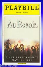 Playbill + Les Miserables + Final Performance May 18 , 2003 + RARE Playbill
