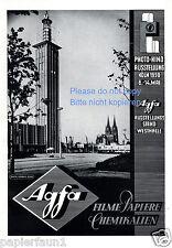 Agfa Film Reklame von 1950 Photo Kino Ausstellung Köln Dom Schmölz Westhalle ad