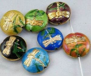 40pcs Cloisonne Enamel Mixed Dragonfly Flat Spacers 18x6mm O53-8