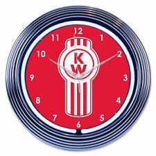 """Kenworth neon wall clock truck chrome vintage Shop home garage work light 15"""""""