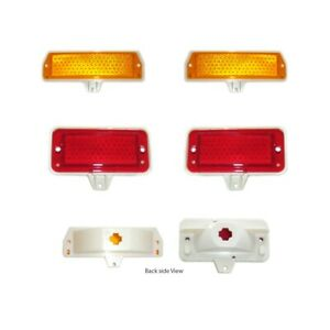 71-73 MUSTANG MARKER LIGHT ASSEMBLIES KIT-FRONTS AND REARS, FORD LOGO, USA
